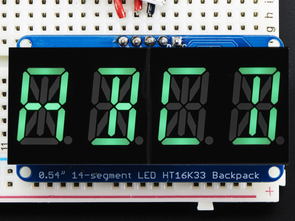 "Quad Alphanumeric Display - Pure Green 0.54"" Digits w/ Backpack - Chicago Electronic Distributors  - 6"
