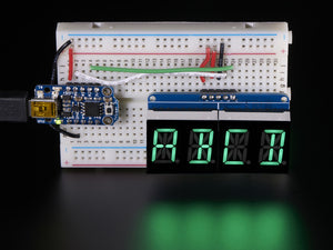 "Quad Alphanumeric Display - Pure Green 0.54"" Digits w/ Backpack - Chicago Electronic Distributors  - 2"