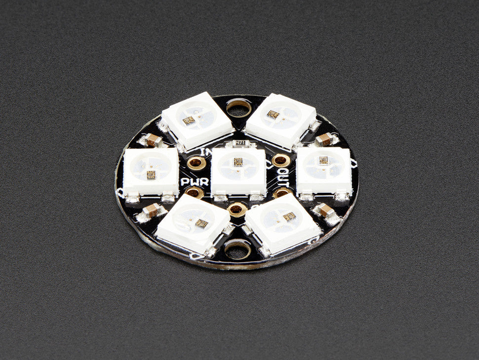 NeoPixel Jewel - 7 x WS2812 5050 RGB LED with Integrated Drivers - Chicago Electronic Distributors  - 1