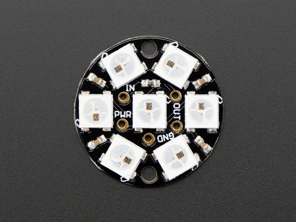 NeoPixel Jewel - 7 x WS2812 5050 RGB LED with Integrated Drivers - Chicago Electronic Distributors  - 4