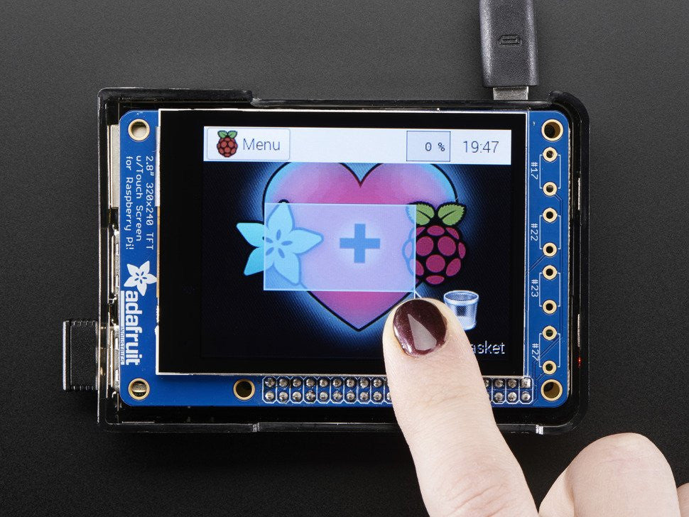 "PiTFT Plus 320x240 2.8"" TFT + Capacitive Touchscreen Mini Kit - Pi 2 and Model A+ / B+ - Chicago Electronic Distributors  - 2"