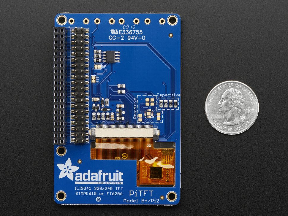 "PiTFT Plus 320x240 2.8"" TFT + Capacitive Touchscreen Mini Kit - Pi 2 and Model A+ / B+ - Chicago Electronic Distributors  - 8"
