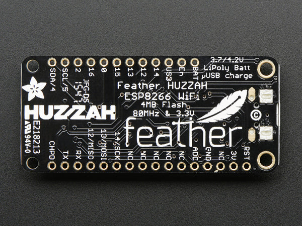 Adafruit Feather HUZZAH with ESP8266 WiFi - Chicago Electronic Distributors  - 1