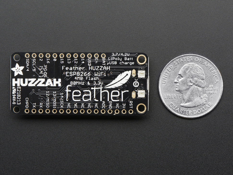 Adafruit Feather HUZZAH with ESP8266 WiFi - Chicago Electronic Distributors  - 4