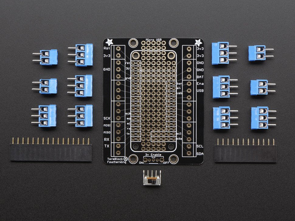 Terminal Block Breakout FeatherWing Kit for all Feather Boards - Chicago Electronic Distributors  - 7