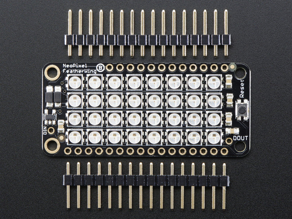 NeoPixel FeatherWing - 4x8 RGB LED Add-on For All Feather Boards - Chicago Electronic Distributors  - 3