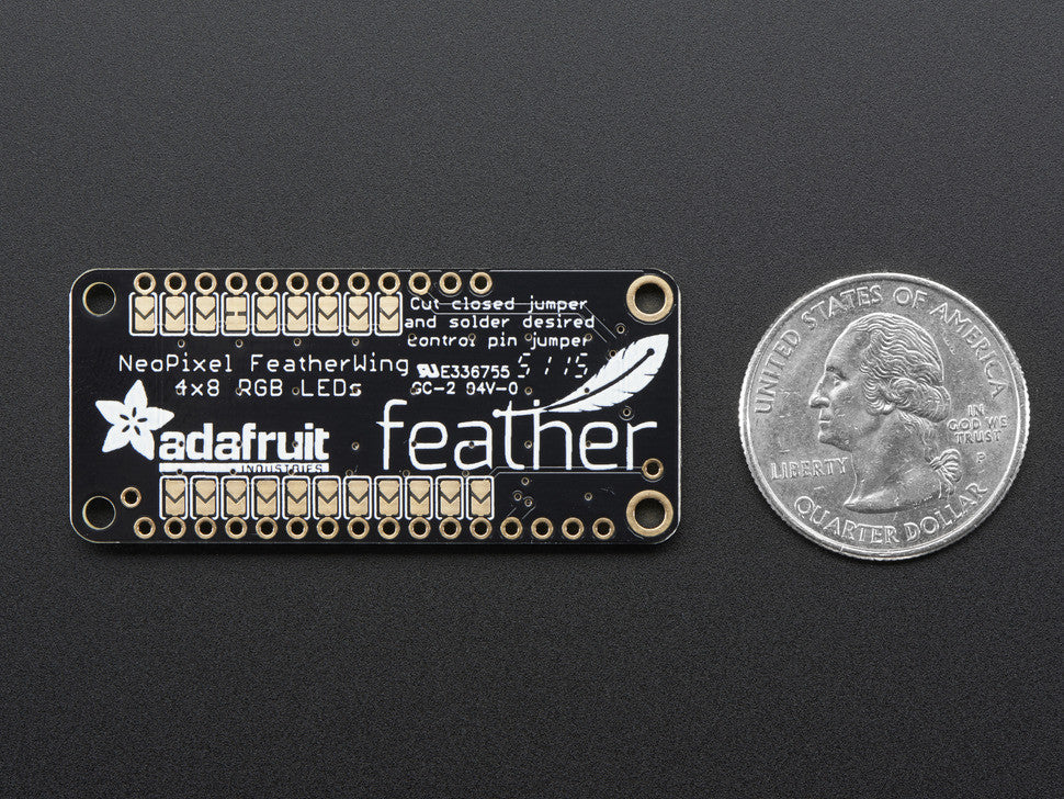 NeoPixel FeatherWing - 4x8 RGB LED Add-on For All Feather Boards - Chicago Electronic Distributors  - 4