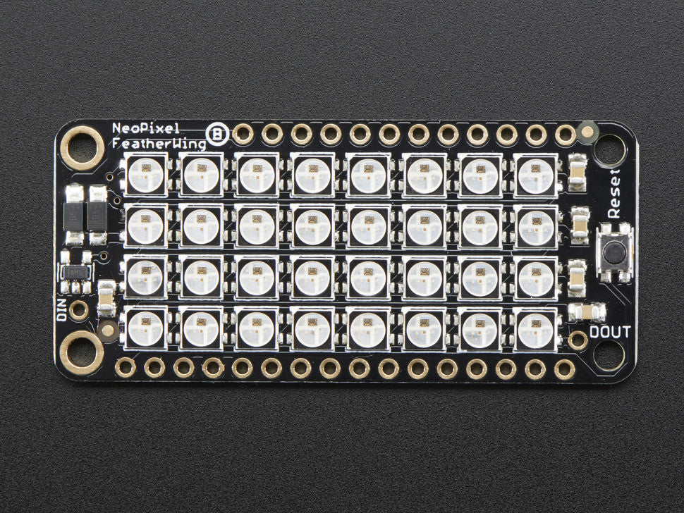 NeoPixel FeatherWing - 4x8 RGB LED Add-on For All Feather Boards - Chicago Electronic Distributors  - 5