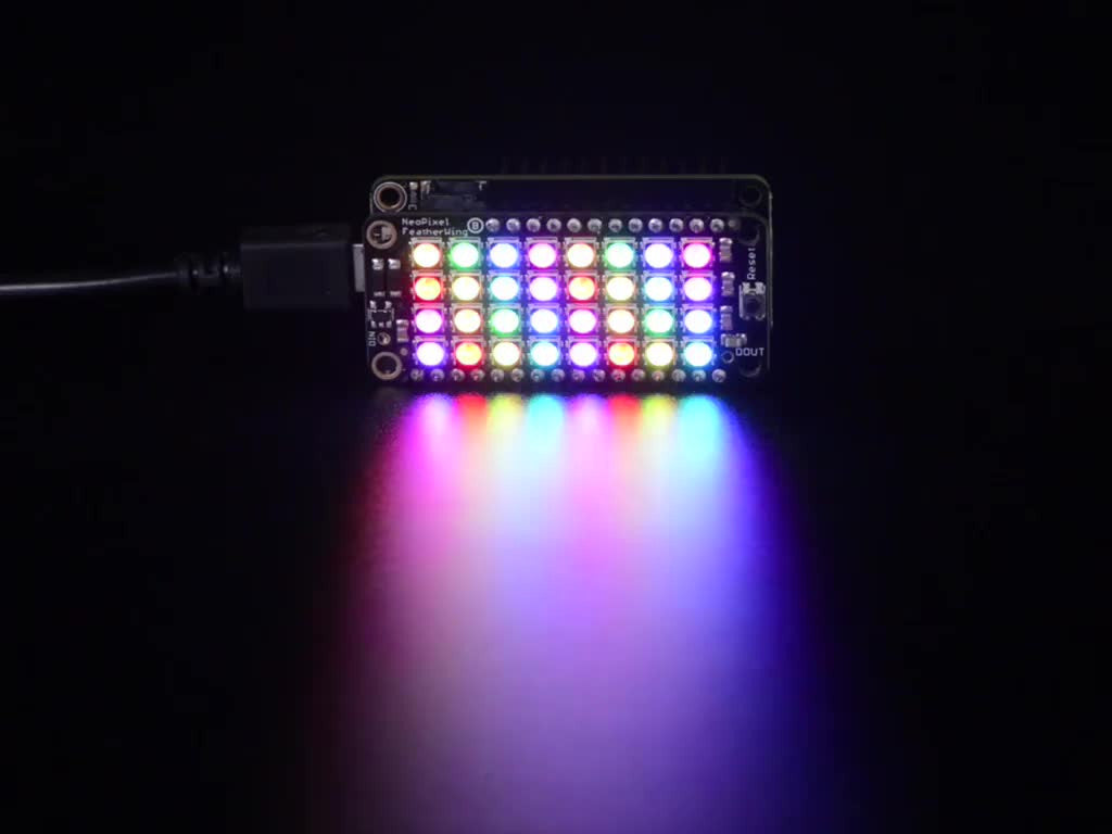 NeoPixel FeatherWing - 4x8 RGB LED Add-on For All Feather Boards - Chicago Electronic Distributors  - 1