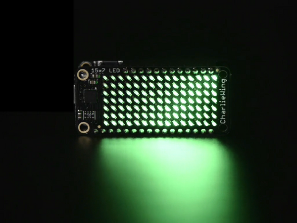 Adafruit 15x7 CharliePlex LED Matrix Display FeatherWing - Green - Chicago Electronic Distributors  - 1