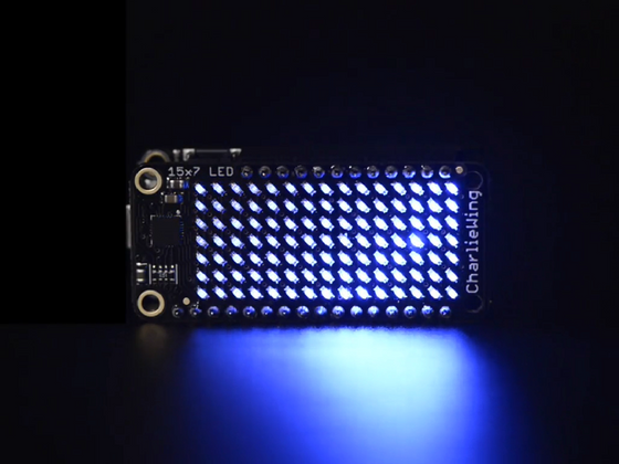 Adafruit 15x7 CharliePlex LED Matrix Display FeatherWing - Blue - Chicago Electronic Distributors  - 1