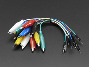 Small Alligator Clip to Male Jumper Wire Bundle - 12 Pieces - Chicago Electronic Distributors
