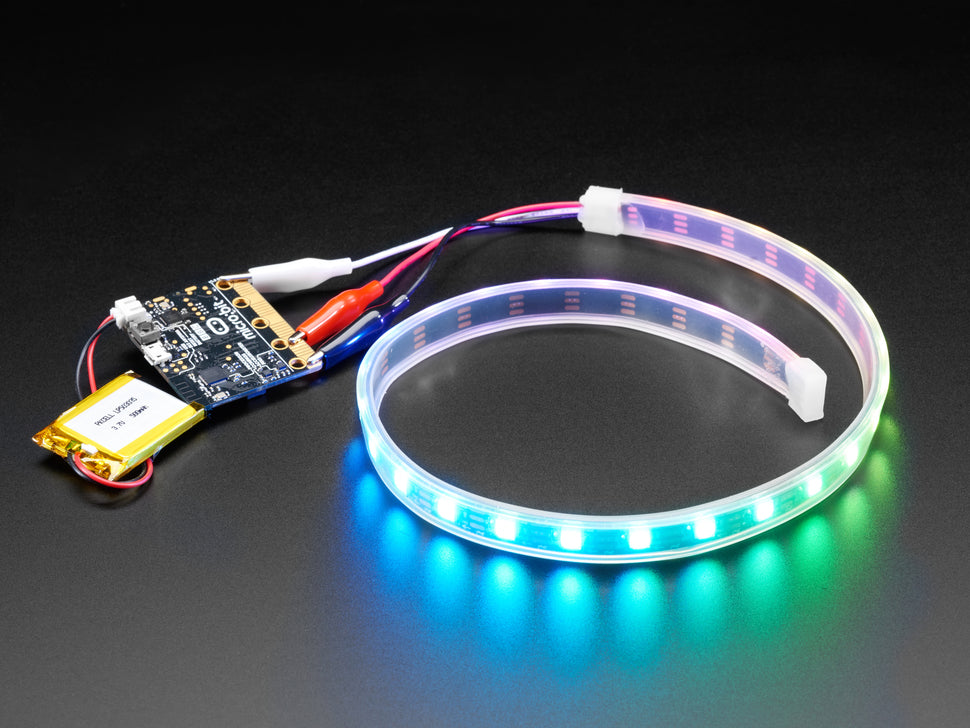Adafruit NeoPixel LED Strip w/ Alligator Clips - 60 LED/m - 0.5 Meter Long - Black Flex
