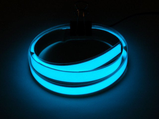 Aqua Electroluminescent (EL) Tape Strip - 100cm w/two connectors - Chicago Electronic Distributors