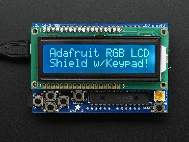 RGB LCD Shield Kit w/ 16x2 Character Display - Only 2 pins used! - Chicago Electronic Distributors