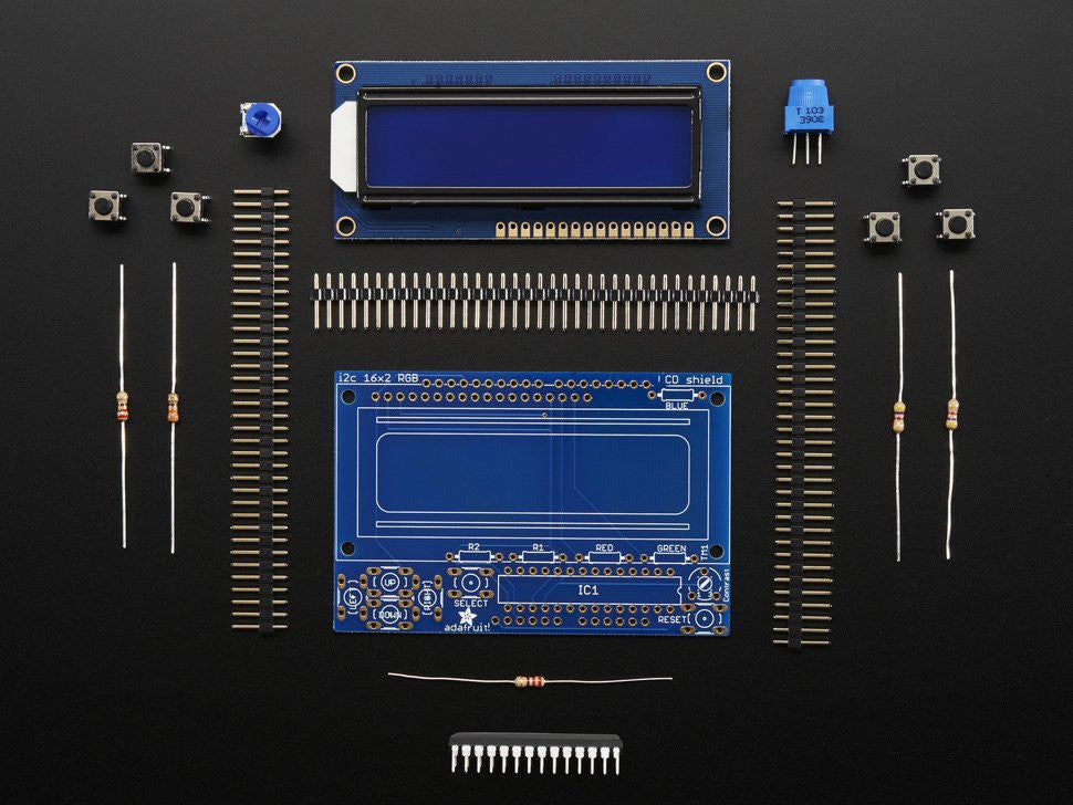 LCD Shield Kit w/ 16x2 Character Display - Only 2 pins used! - BLUE AND WHITE - Chicago Electronic Distributors  - 2
