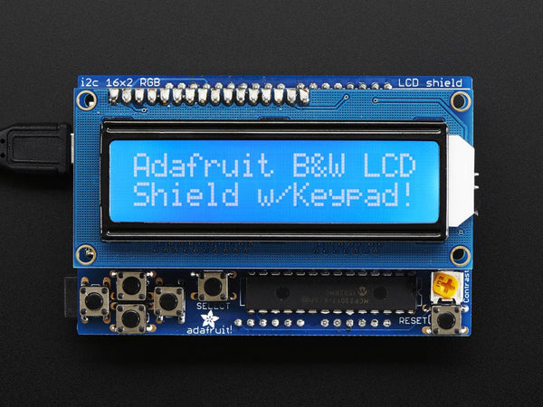 LCD Shield Kit w/ 16x2 Character Display - Only 2 pins used! - BLUE AND WHITE - Chicago Electronic Distributors  - 1
