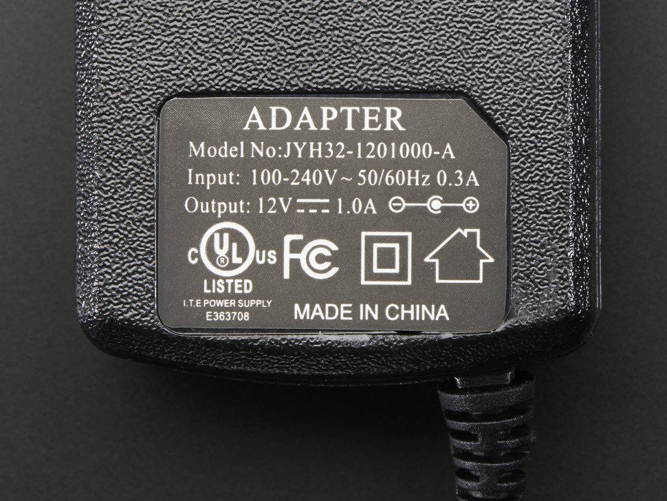 12 VDC 1000mA regulated switching power adapter - UL listed - Chicago Electronic Distributors  - 2
