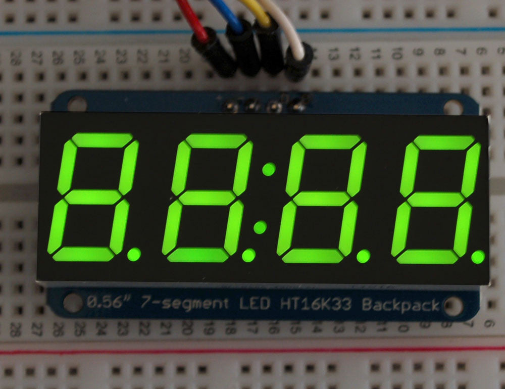"Adafruit 0.56"" 4-Digit 7-Segment Display w/I2C Backpack - Green - Chicago Electronic Distributors  - 1"