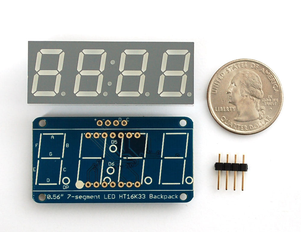 "Adafruit 0.56"" 4-Digit 7-Segment Display w/I2C Backpack - Green - Chicago Electronic Distributors  - 3"