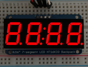 "Adafruit 0.56"" 4-Digit 7-Segment Display w/I2C Backpack - Red - Chicago Electronic Distributors  - 1"