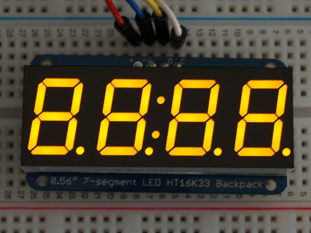 "Adafruit 0.56"" 4-Digit 7-Segment Display w/I2C Backpack - Yellow - Chicago Electronic Distributors  - 1"
