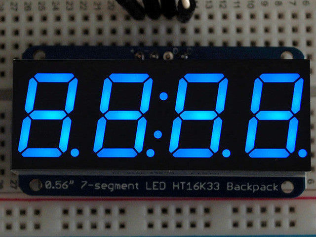 "Adafruit 0.56"" 4-Digit 7-Segment Display w/I2C Backpack - Blue - Chicago Electronic Distributors  - 1"