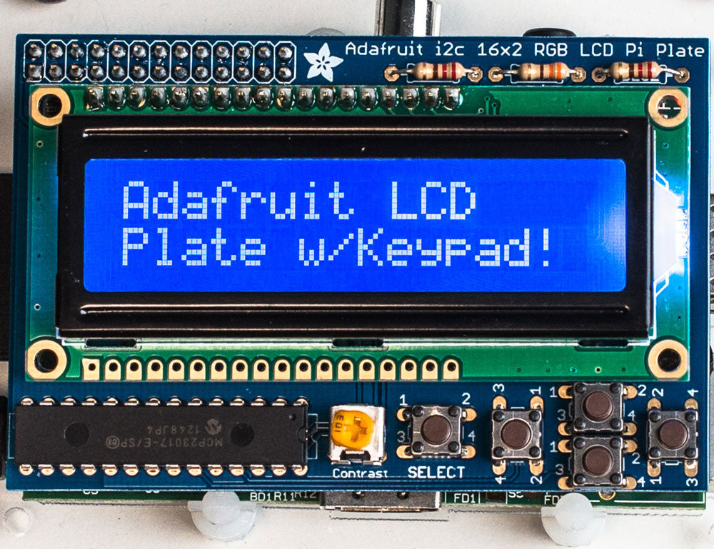 Adafruit Blue&White 16x2 LCD+Keypad Kit for Raspberry Pi - Chicago Electronic Distributors  - 1