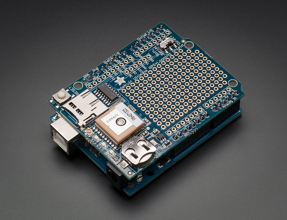 Adafruit Ultimate GPS Logger Arduino Shield - Includes GPS Module - Chicago Electronic Distributors  - 1