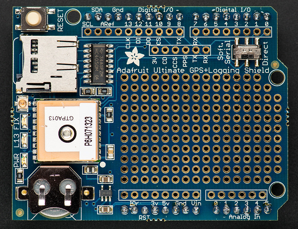 Adafruit Ultimate GPS Logger Arduino Shield - Includes GPS Module - Chicago Electronic Distributors  - 2