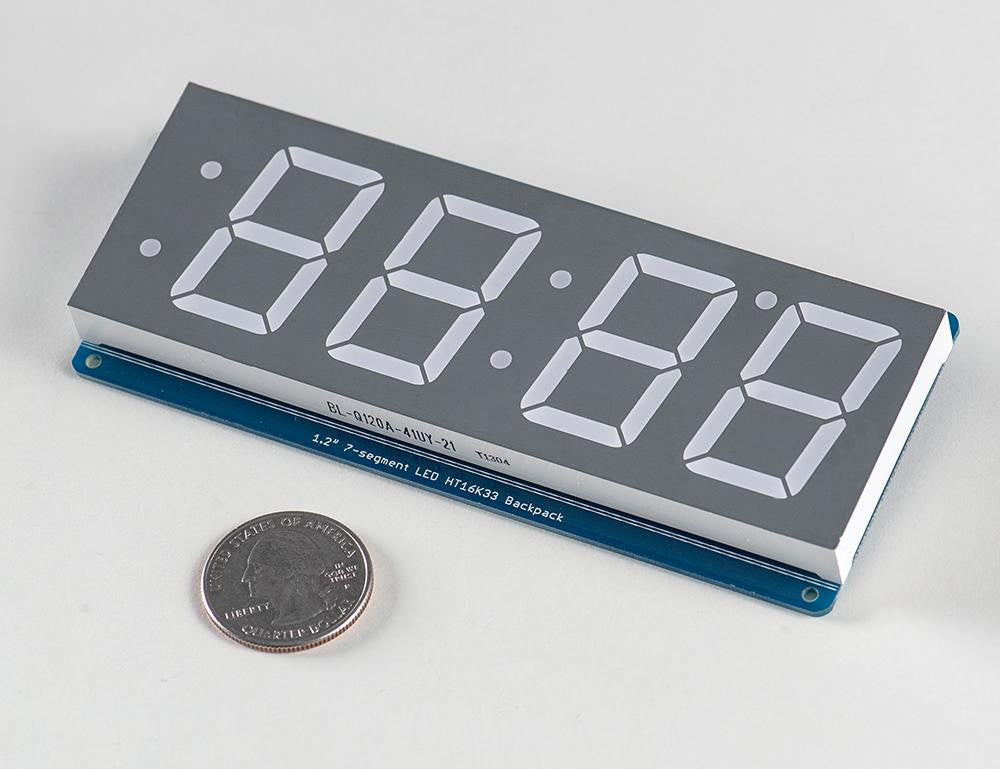 "Adafruit 1.2"" 4-Digit 7-Segment Display w/I2C Backpack - Red - Chicago Electronic Distributors  - 2"