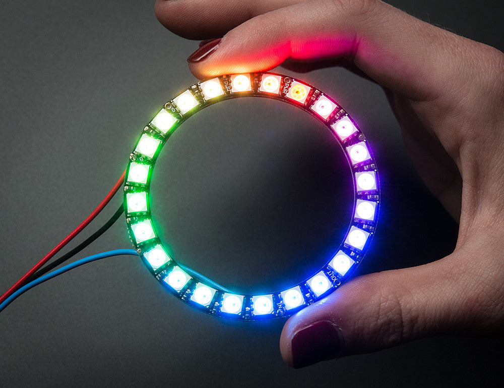 NeoPixel Ring - 24 x WS2812 5050 RGB LED with Integrated Drivers - Chicago Electronic Distributors  - 1
