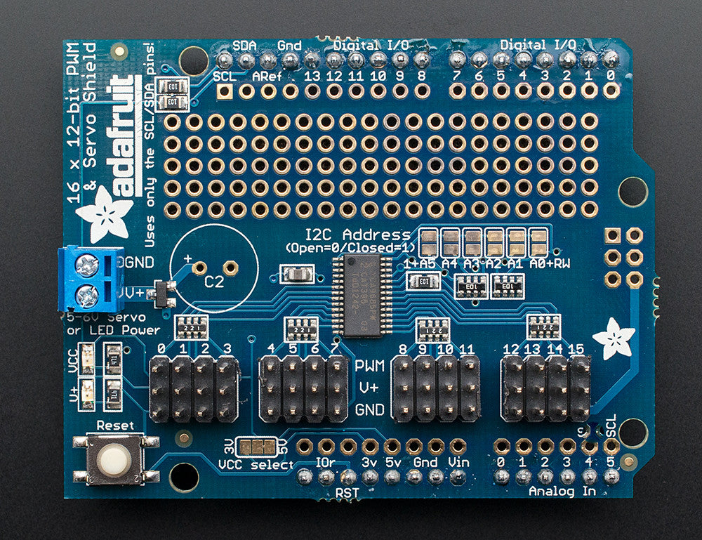 Adafruit 16-Channel 12-bit PWM/Servo Shield - I2C interface - Chicago Electronic Distributors  - 2