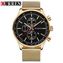 Curren Gold Quartz - Diamond Wrist