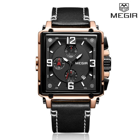 Megir Leather Quartz - Diamond Wrist