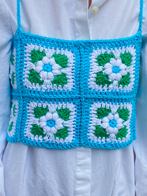 Light Blue Crochet Top