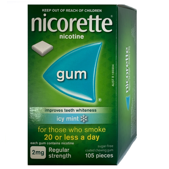 Nicorette 2mg Icy Mint Nicotine Gum 105 piece box
