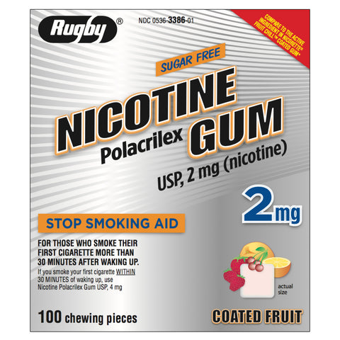 Rugby 2mg Coated Fruit Nicotine Gum 100 piece box