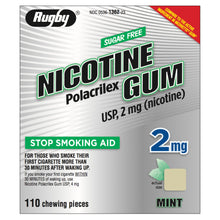 Load image into Gallery viewer, Rugby 2mg Uncoated Mint Nicotine Gum 110 piece box