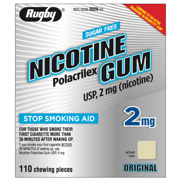 Rugby 2mg Uncoated Original Nicotine Gum 110 piece box