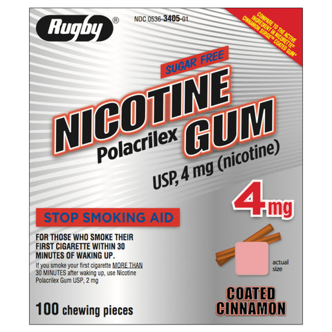 Rugby 4mg Coated Cinnamon Nicotine Gum 100 piece box