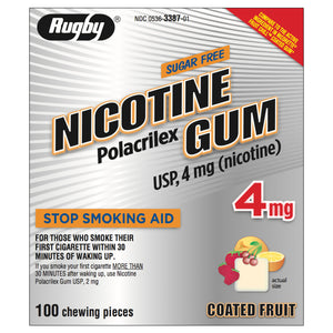 Rugby 4mg Coated Fruit Nicotine Gum 100 piece box