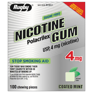 Rugby 4mg Coated Mint Nicotine Gum 100 piece box