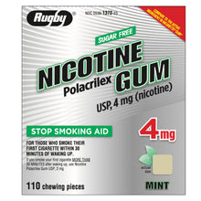 Load image into Gallery viewer, Rugby 4mg Uncoated Mint Nicotine Gum 110 piece box