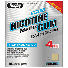Rugby 4mg Uncoated Original Nicotine Gum 110 piece box