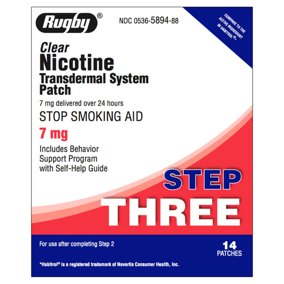 Rugby Step 3  (7mg) Clear Nicotine Transdermal Patch, 14 patches