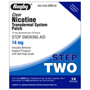 Rugby Step 2  (14mg) Clear Nicotine Transdermal Patch, 14 patches
