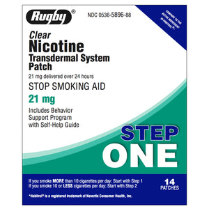 Rugby Step 1  (21mg) Clear Nicotine Transdermal Patch, 14 patches