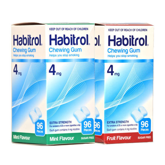 Habitrol 4mg Combo Mint & Fruit  Nicotine Gum 96 piece boxes