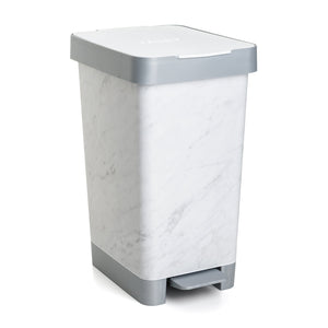 Cubo con Doble Apertura Tatay Smart Bin 25L, Pedal Retractil y Manual, Deco Marble